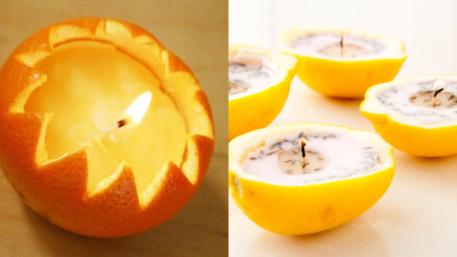 Bí quyết làm nến thơm đuổi muỗi từ vỏ cam, chanh