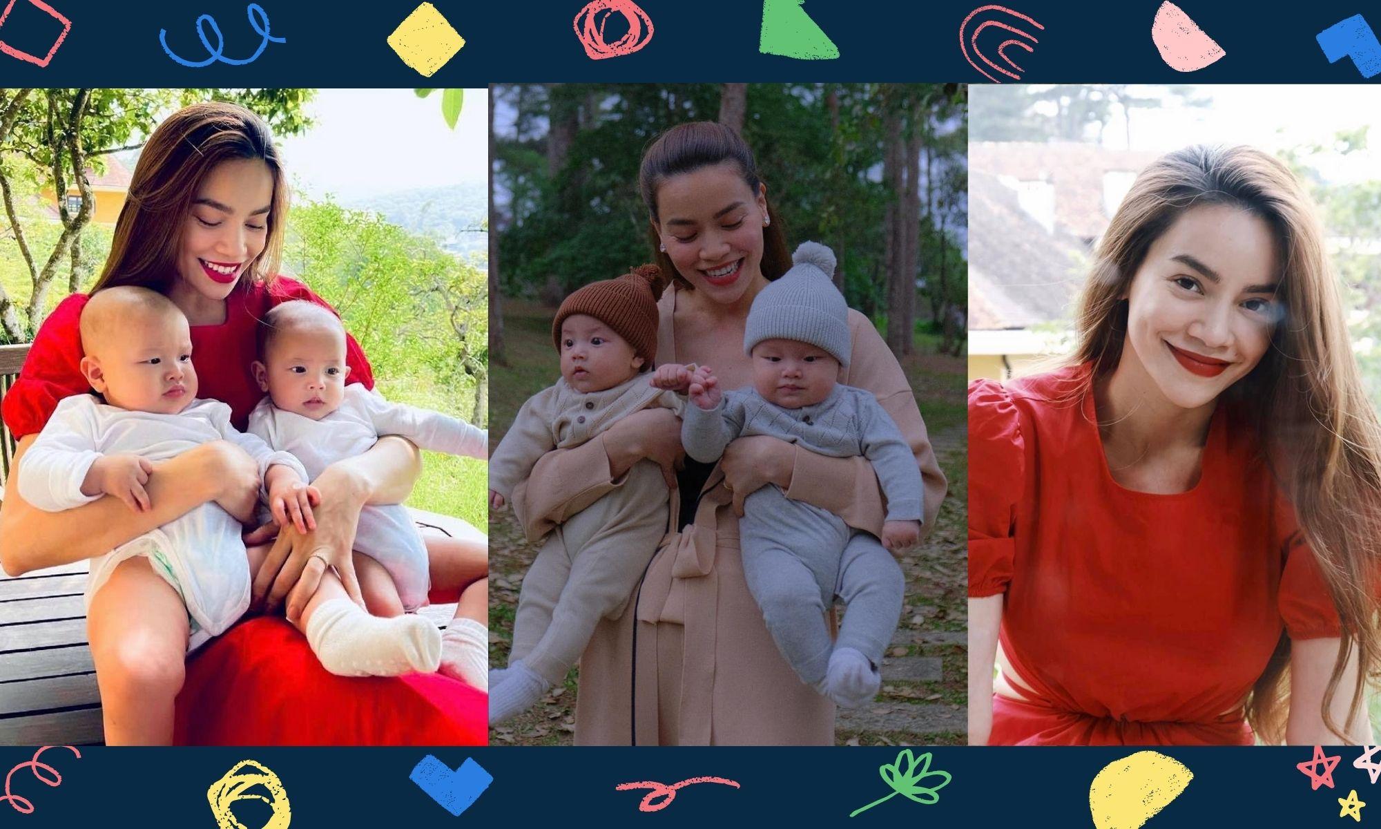 Hồ Ngọc Hà rạng rỡ - hạnh phúc bên cạnh hai con sinh đôi