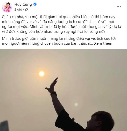 Huy Cung xác nhận tin đồn ly hôn trên mạng xã hội facebook tối 18/4
