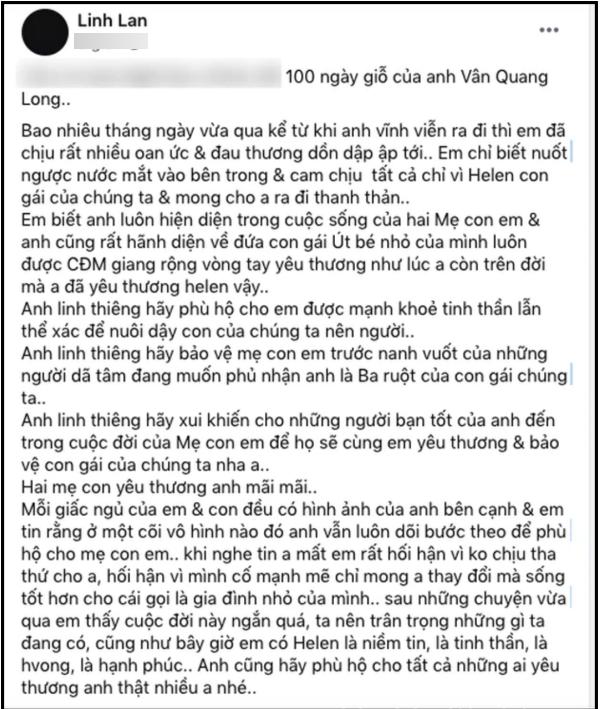Vợ Vân Quang Long lên tiếng đáp trả nghi vấn con gái Helen không phải con cố nghệ sĩ
