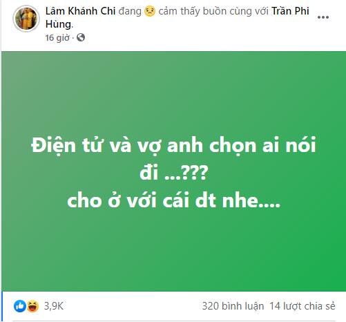 Chồng Lâm Khánh Chi đam mê chơi game bị vợ tố lên mạng xã hội