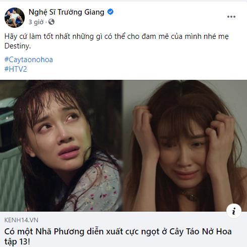 Danh hài Trường Giang khéo léo khoe thành công của bà xã trong phim Cây táo nở hoa