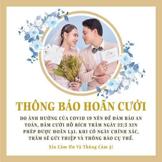 Hồ Bích Trâm thông báo hoãn lễ cưới tại thành phố Hồ Chí Minh