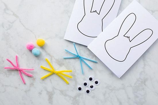 Cách làm thiệp cho trẻ mầm non hình chú thỏ siêu đáng yêu