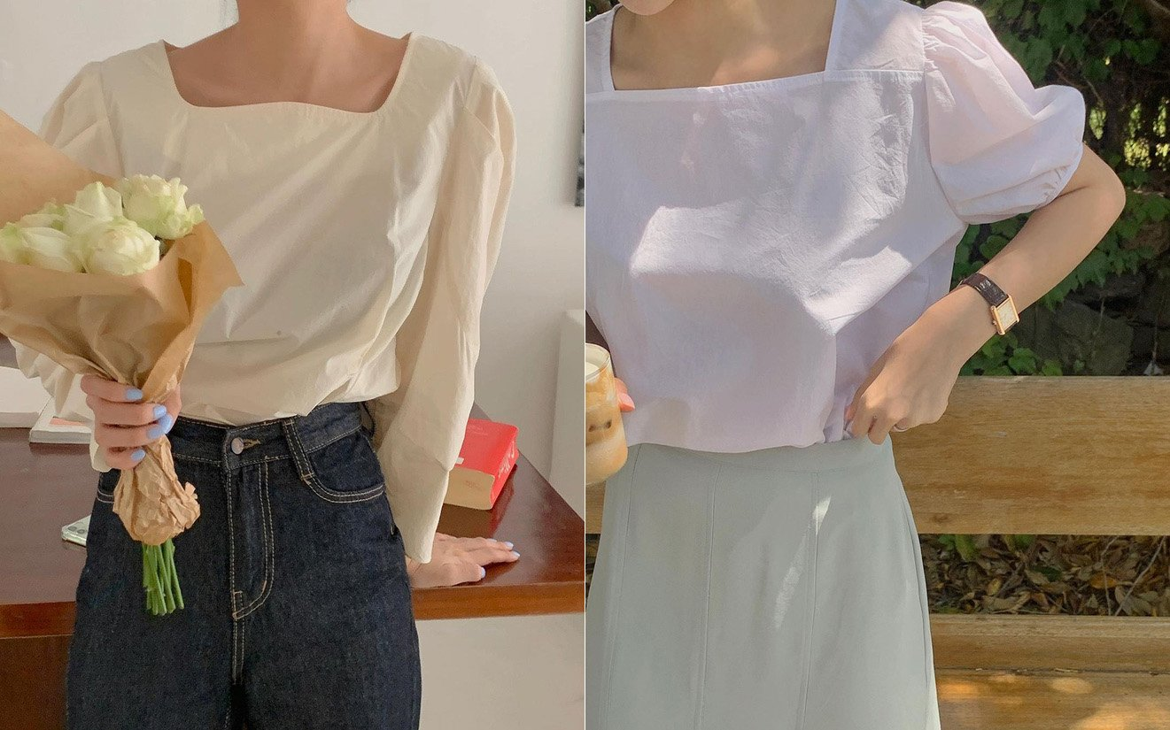 áo blouse cổ vuông