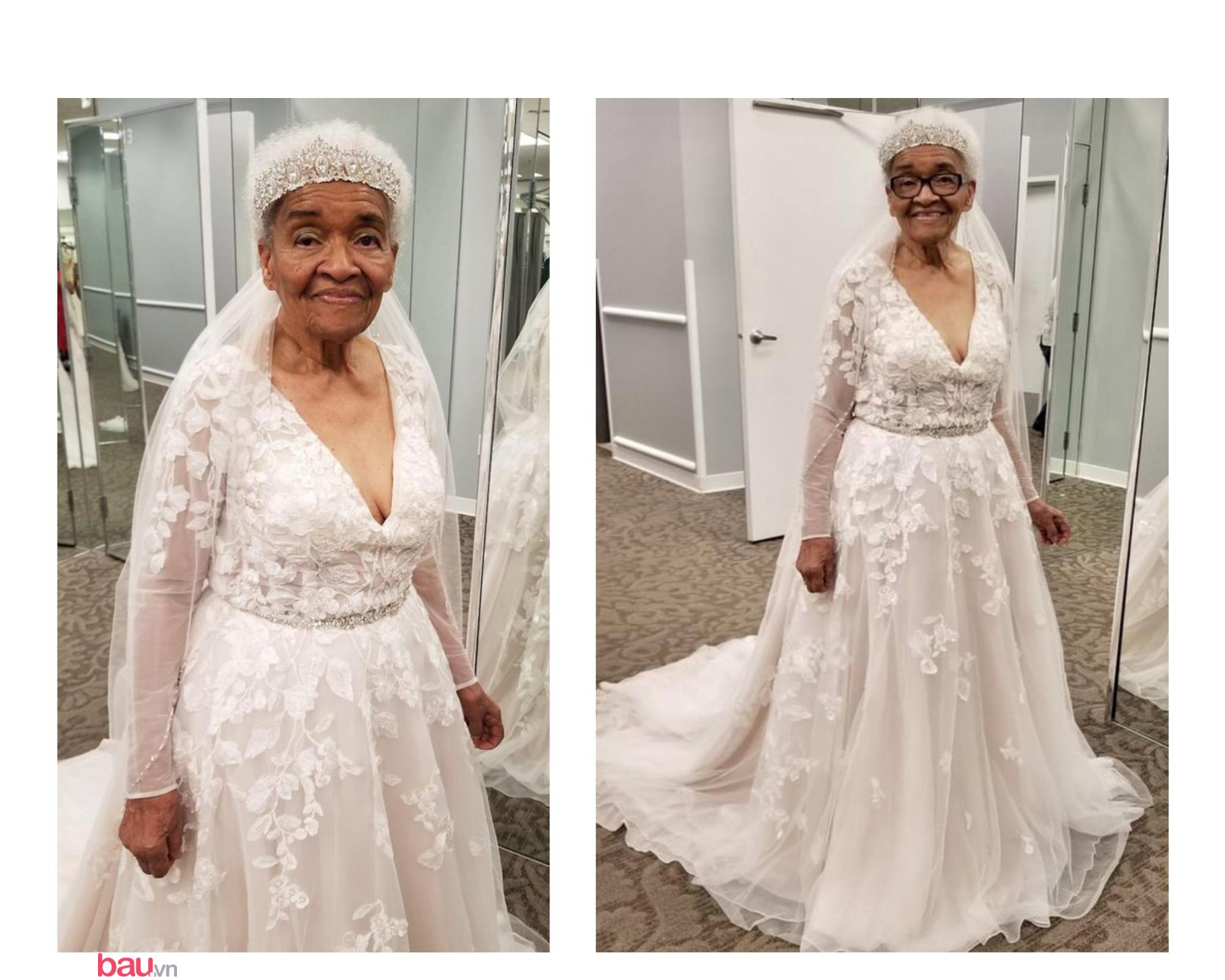 Cụ bà người da đen hạnh phúc vì được mặc váy cưới sau 70 năm chờ đợi