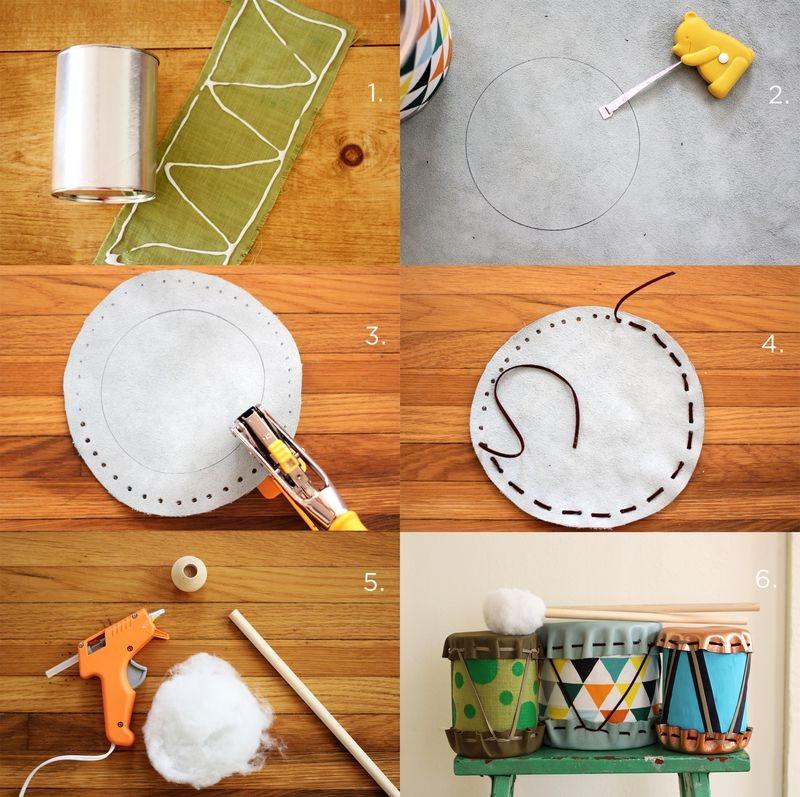 Làm đồ chơi trống từ vỏ hộp sữa bột kim loại
