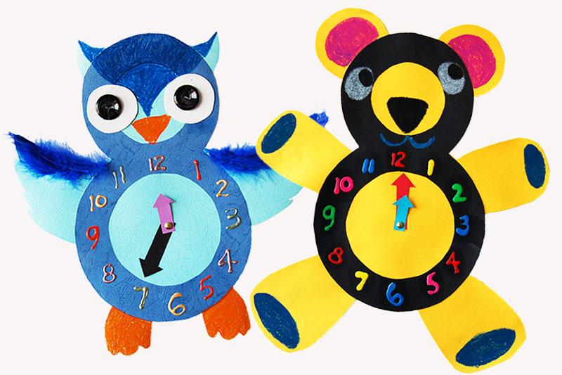 Hướng dẫn làm đồng hồ hình con gấu cho bé trang trí góc học tập